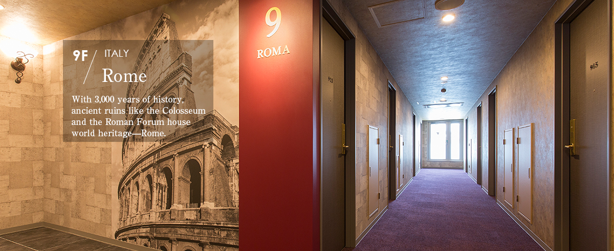 9F Rome  With 3,000 years of history, ancient ruins like the Colosseum and the Roman Forum house world heritage—Rome.